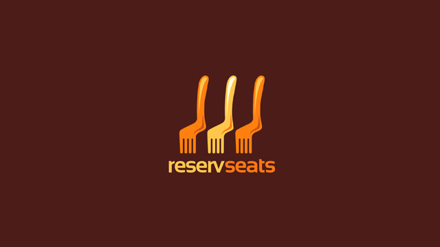 Reservseats:餐厅预约网站的logo设计。看出来了吗?既是叉子,又是凳子。