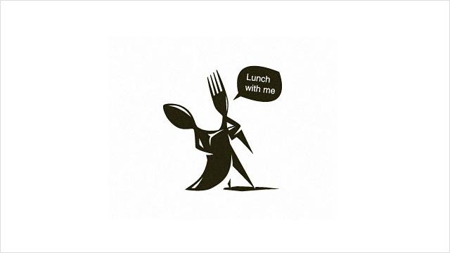 Lunch with me: 情侣午餐约会主题餐厅的标志设计。 叉子和勺子一起舞蹈。