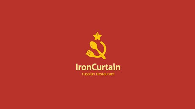 IronCurtain:俄国餐厅的标志设计。 当然要红色,镰刀变成了刀叉。