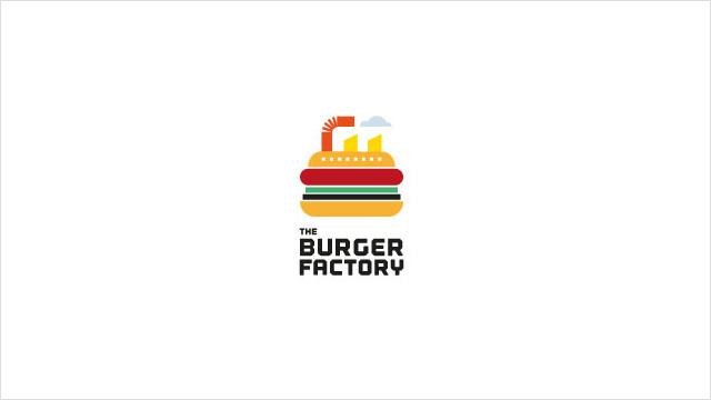 The Burger Factory:汉堡工厂餐厅标志设计。 美式快餐,像工厂一样流水作业。