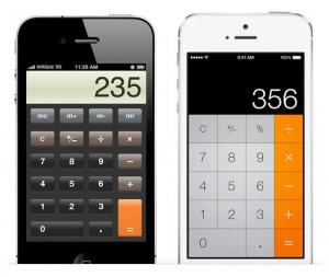 苹果iOS7是告别拟物化风格后的一个华丽转变。左边是旧版本的iOS里计算器应用程序的设计,右边是iOS7里的设计。木纹质感的斜面按钮和闪亮的玻璃风格都摒弃了,取而代之的是更平面,突出功能的界面。