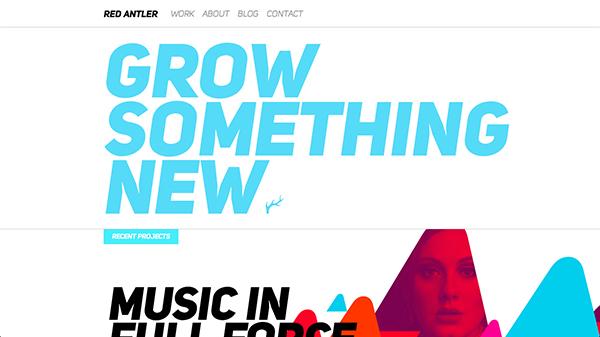 在不同厚重字体相结合方面,Red Antler的网站很值得一挖。网站采用了巨大而厚重的标题搭配细小的副标题。文字的并列放置处理的非常棒,非常好看。