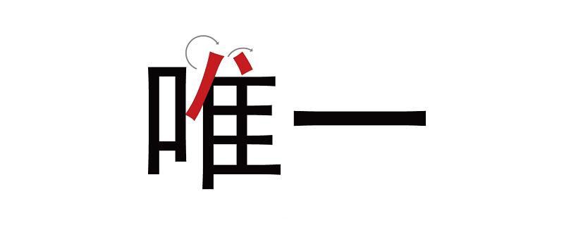 """我们可以在电脑上打出""""唯一""""两个字,观察一下笔画结构,我们可以发现字体中以横画与竖画为主。"""