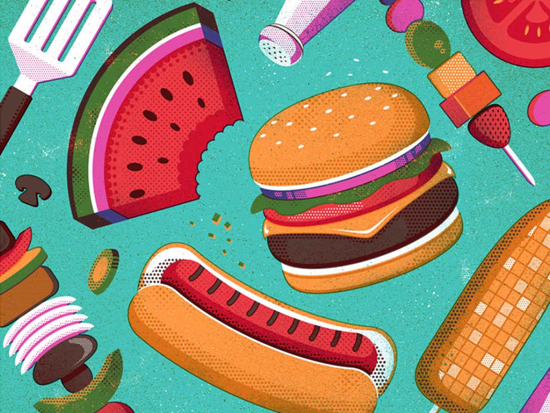 30个快餐店汉堡元素的logo设计欣赏
