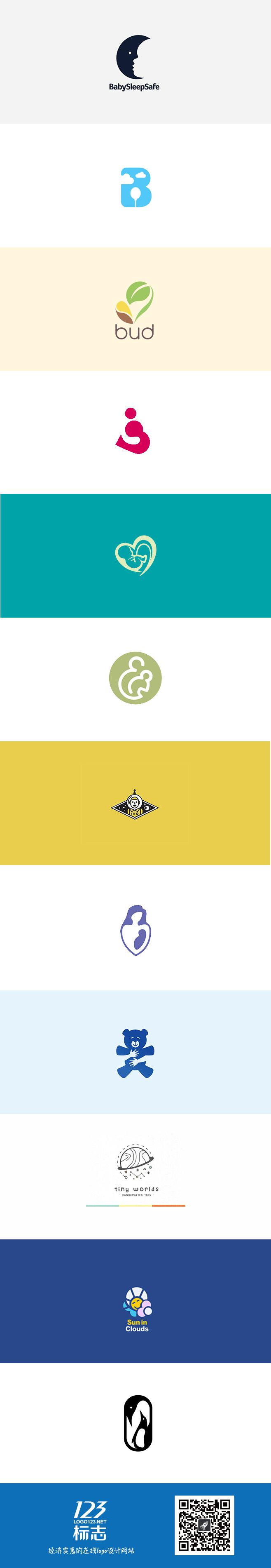 一组温馨可爱的儿童母婴元素logo设计集锦