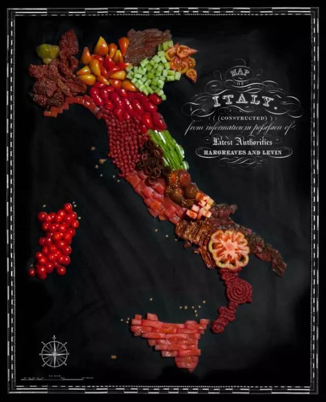 设计师用这些食物组成了各个国家的创意地图
