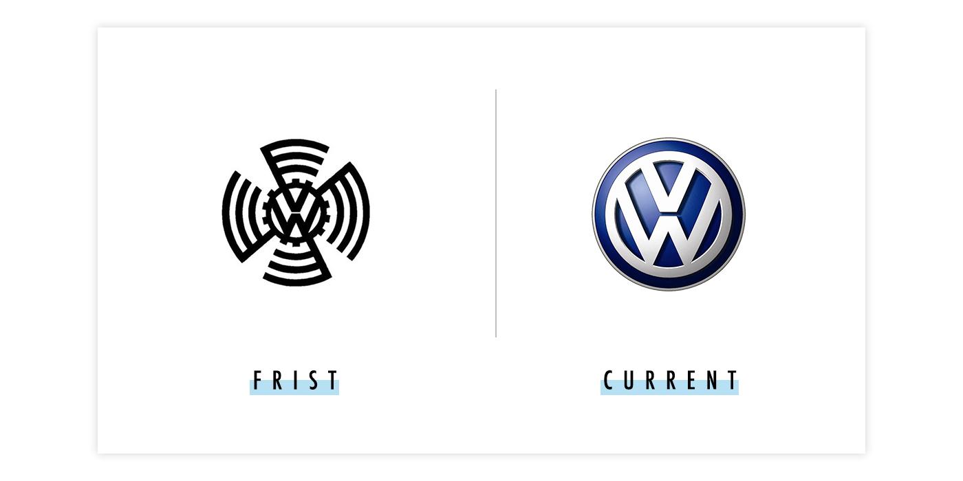 大众新旧logo对比配图