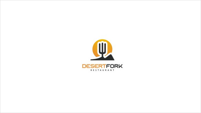 DesertFork:沙漠餐厅标志设计。 仙人掌+叉子。。。