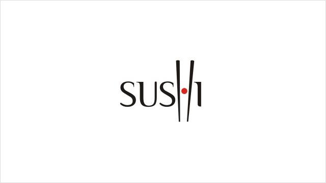 Sushi:寿司餐厅标志设计。 太阳,筷子,寿司......