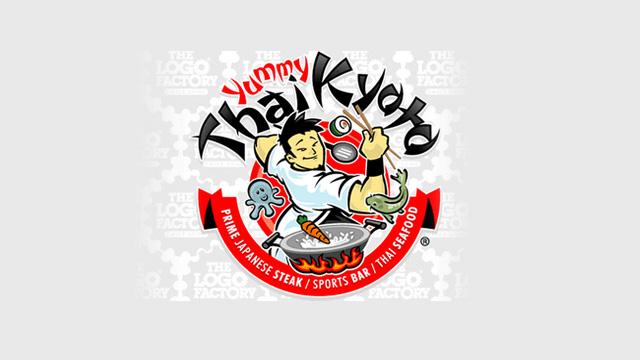 Yummy Thai:泰国餐厅标志设计。 这个大厨好忙呀!