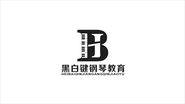 黑白键钢琴教育学校标志LOGO设计