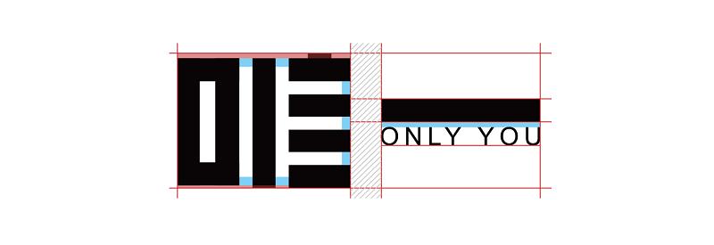 一般来说,笔画密集的地方要调细,笔画疏的地方要加粗,上图时进行调整后的笔画,分别用数字和字母来代表对应的笔画,仔细观察你会发现其中的差异。