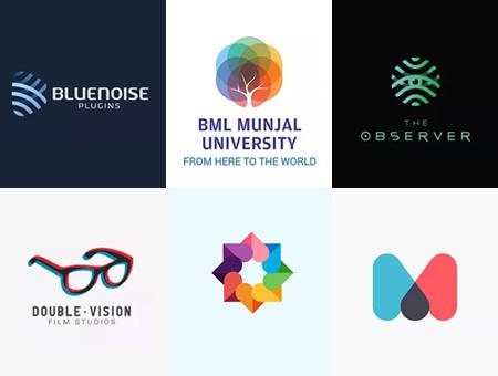 一组色彩线条简洁搭配的logo设计欣赏