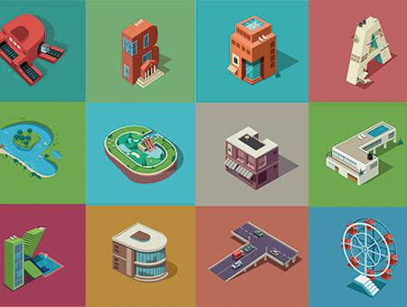 字母上的城市:一组字母LOGO的趣味插画集锦
