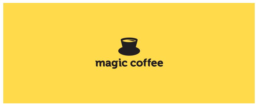 魔术帽上加上咖啡,就构成了咖啡的品牌LOGO,惊不惊讶?魔术帽的帽檐成了杯子的杯垫,帽身就是杯身,可谓是简单,却创造感满分。
