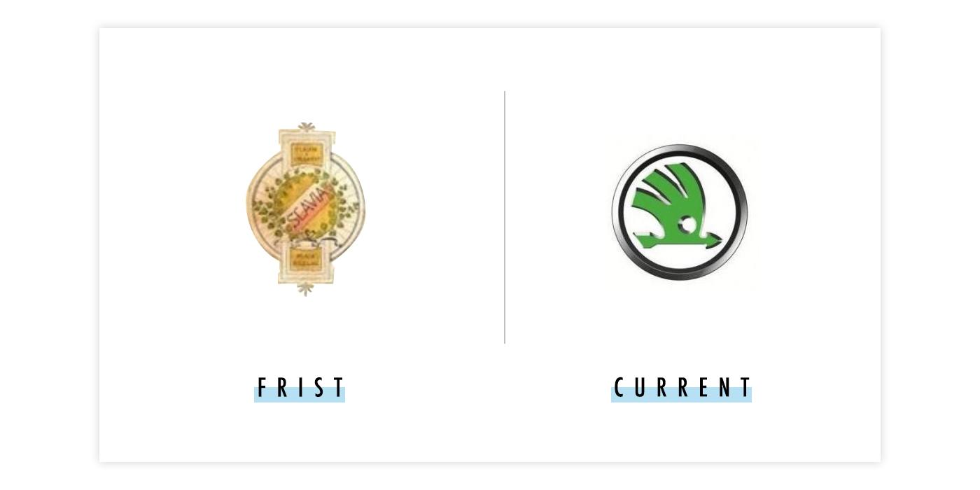 斯科达新旧logo对比配图